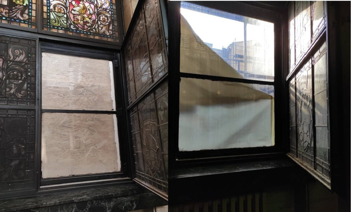 От САС показват, че при отваряне на прозорците и осветяване на витражите, те изглеждат по същия начин, по който и онези, които не са затъмнени изкуствено от предпазни пана и найлони, поставяни заради ремонтните дейности. И посочват, че след приключването им почистването на витражите ще бъде възложено на специалисти от Художествената академия.